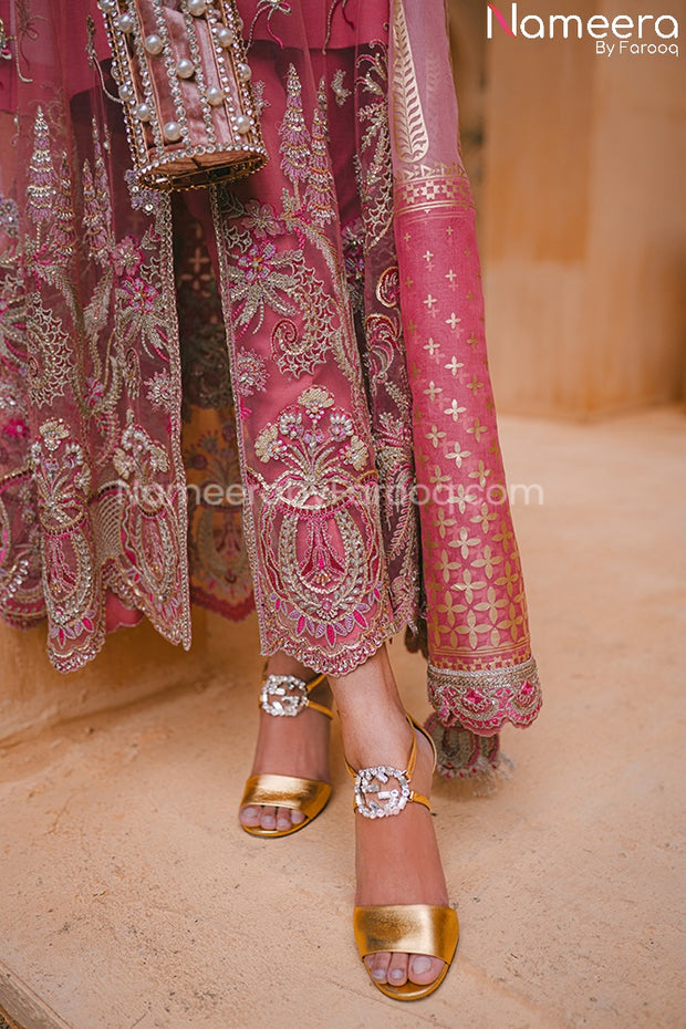 Latest Pakistani Chiffon Dress for Wedding Party Embroidery Look