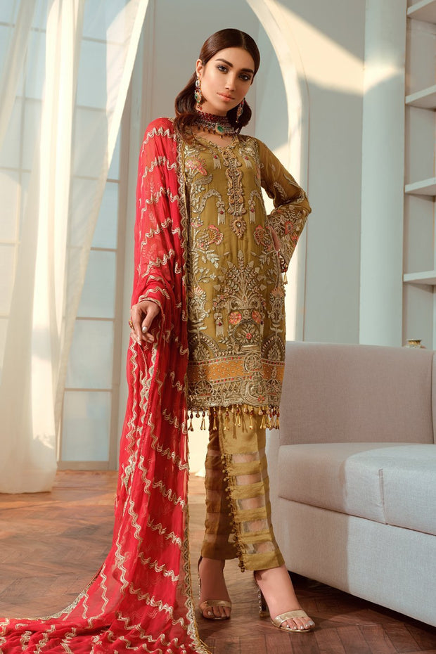 Latest Pakistani Chiffon Outfit in Copper Color