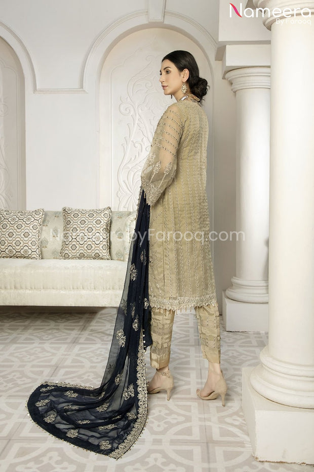 Latest Pakistani Dress Chiffon for Wedding Party Backside Look