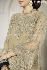 Latest Pakistani Dress Chiffon for Wedding Party Sleeves Look
