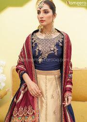 Latest Pakistani Lehenga Choli Online Shopping Neckline Embroidery