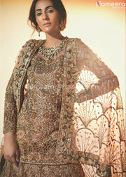 Pakistani Lehenga with Short Kurti for Bridal Close up View