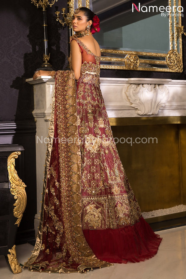 Latest Pakistani Maroon Lehenga Bridal