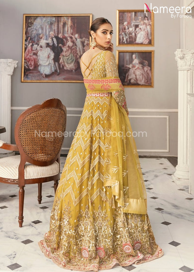 Latest Pakistani Maxi Dress for Wedding Party Backside Look