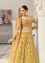 Latest Pakistani Maxi Dress for Wedding Party Neckline Embroidery