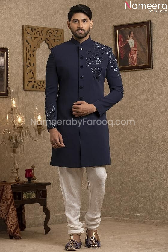 Latest Pakistani Navy Blue Sherwani for Groom