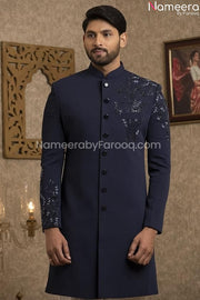 Latest Pakistani Navy Blue Sherwani for Groom Closeup View
