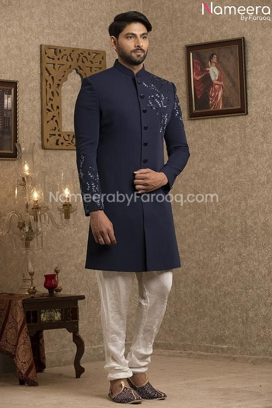 Latest Pakistani Navy Blue Sherwani for Groom  Front Look