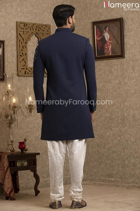 Latest Pakistani Navy Blue Sherwani for Groom  Backside View