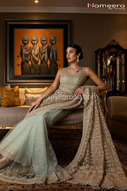 Latest Pakistani Saree Online for Wedding Party Pallu Look