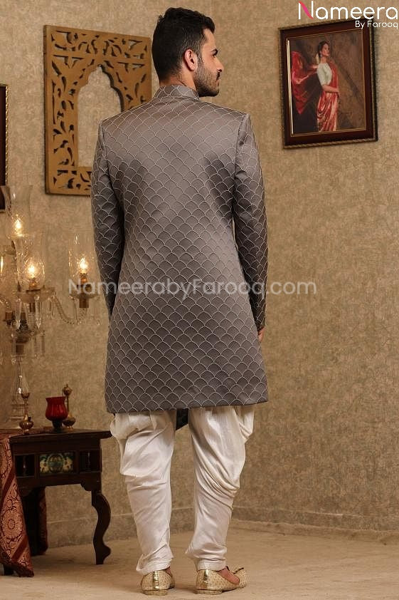 Latest Pakistani Sherwani Designers for Groom Back side View