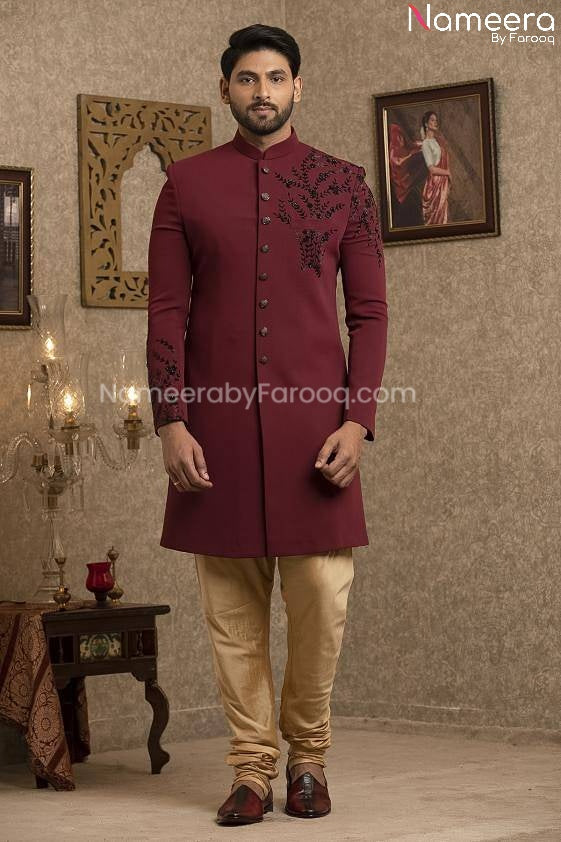 Latest Pakistani Sherwani Style for Groom Online Front Look