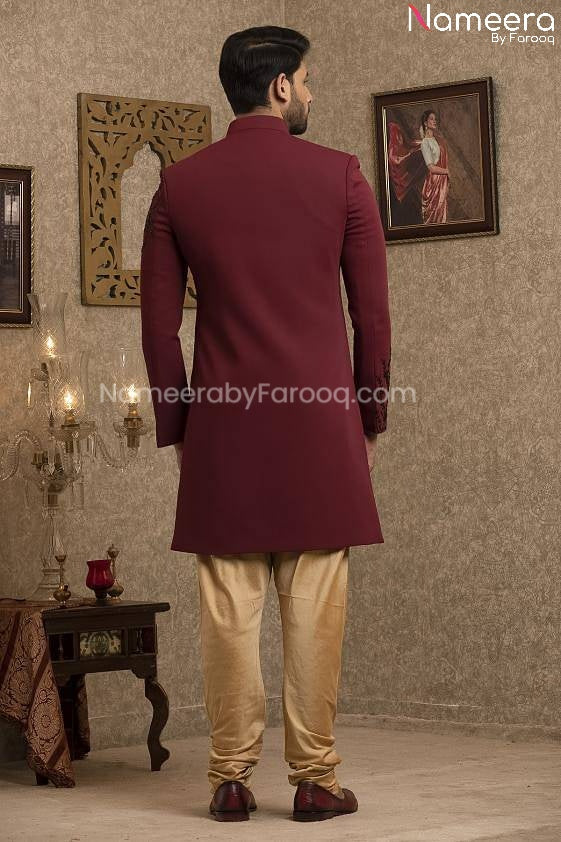 Latest Pakistani Sherwani Style for Groom Online Backside View