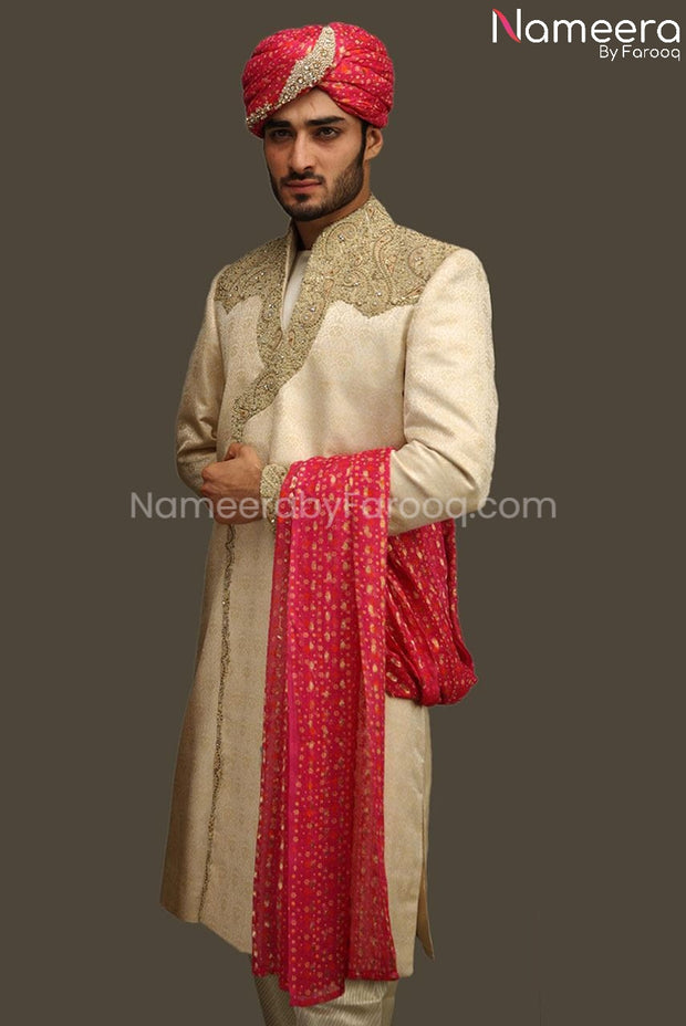 Latest Pakistani Sherwani With Embroidery Online Overall Look
