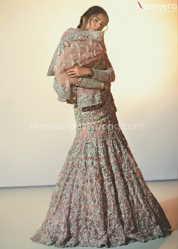 Pakistani Silver Lehenga Choli for Bridal Online
