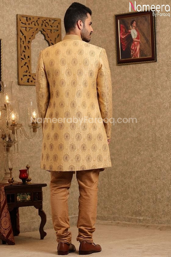 Latest Sherwani Pakistani for Wedding Online Backside View