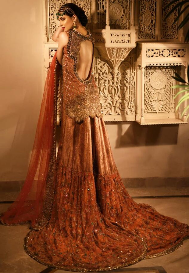 Latest Trail Wedding Lehnga in Orange Red Color Backside