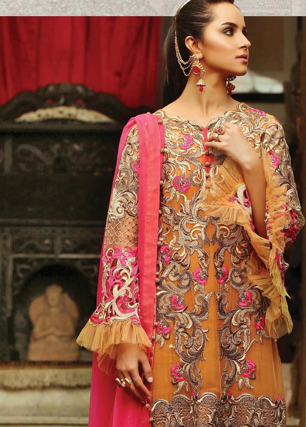 Latest Indian party wear in orange and pink color