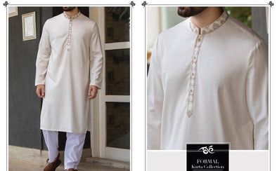 Latest Pakistani Off White Mens Kurta with Gala work