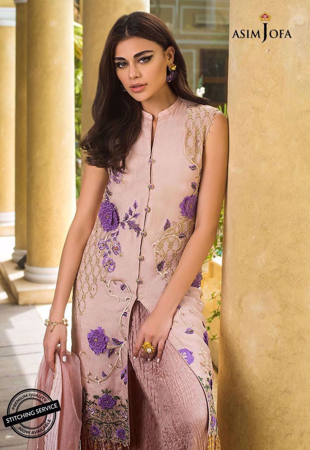 Latest Pakistani dress in dusky lilac color