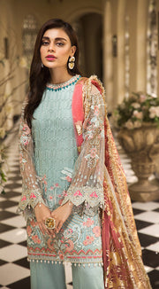 Latest embroidered organza dress in aqua blue color # P2260