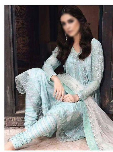 Lawn Anarkali Frock Dress Light Turquoise and Skin Color
