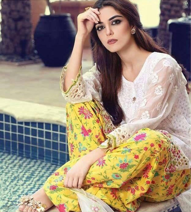 Lawn Floral Shalwar Qameez Embroidered Net Sleeves Dubatta