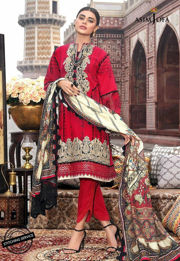 Lawn Suit Online Shoping in Red Color