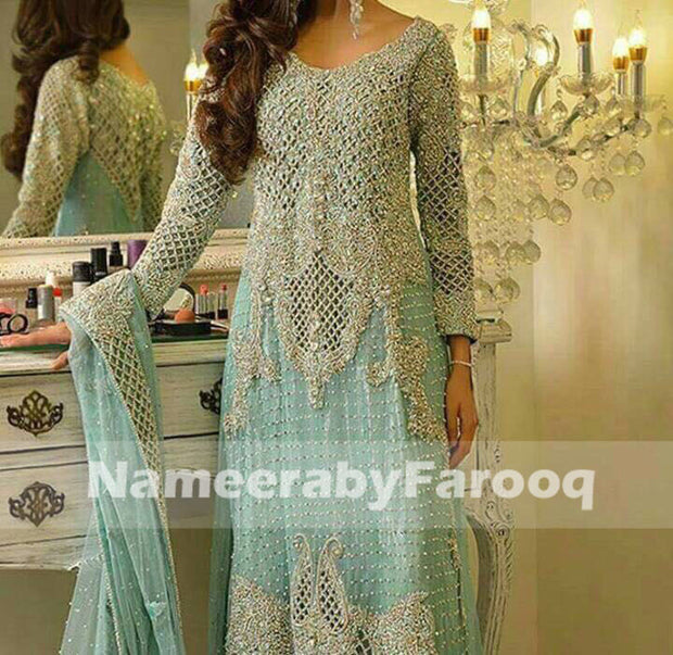 Turquize/Ferooze Wedding Party Dress With Heavy Work of Silver Dabka Nugh & Cut Work