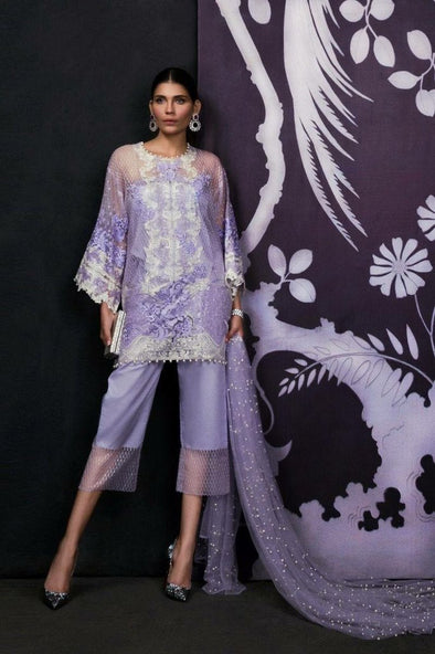 Lilac light Purple Color Net Dress by Sana Safinaz