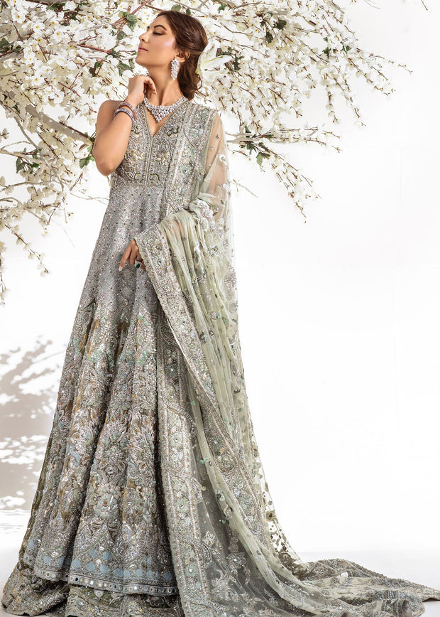 Long Designer Maxi in Silver Color