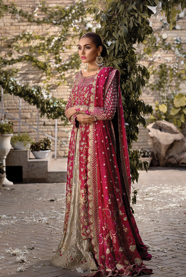 Long Open Shirt with Tissue Lehnga in Red Color