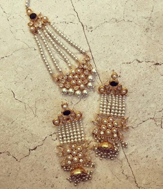 Long Earrings Set with Jhumar