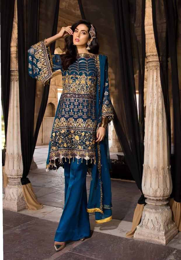 Luxe Touch Pakistani Royal Blue Chiffon Color Festive Wear 2019