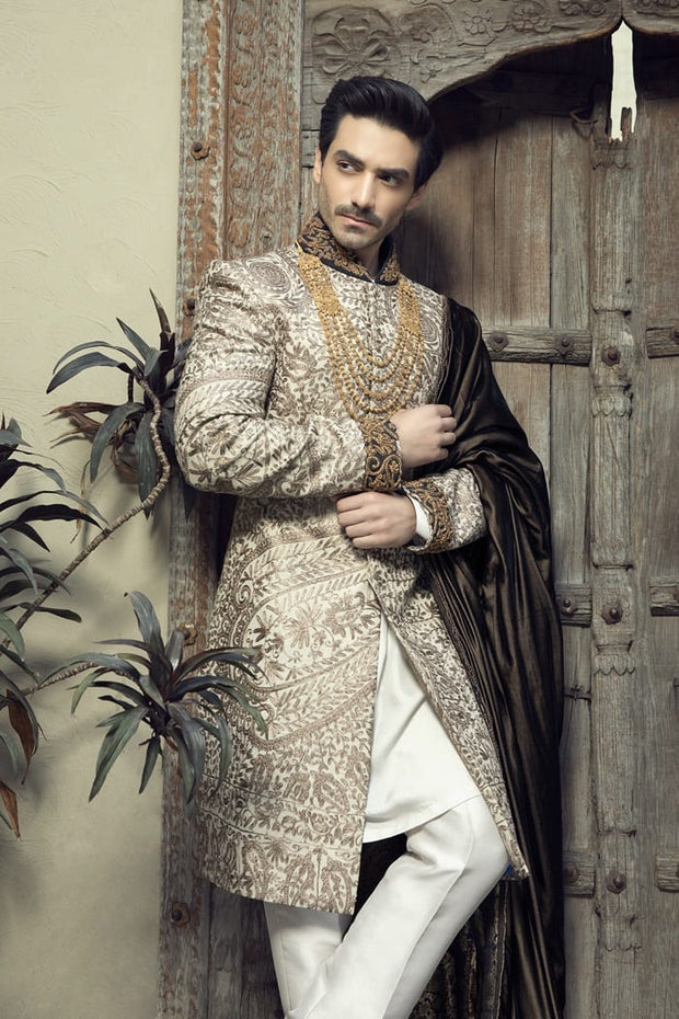 Luxury Groom Sherwani for Wedding Side Pose