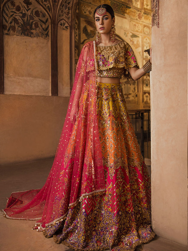 Luxury Mehndi Lehnga Choli for Wedding Clear View