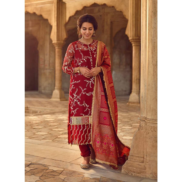 Pakistani cultural dress of deep red colour