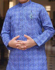Pakistani machine embroidered kurta in electric blue color # K2307