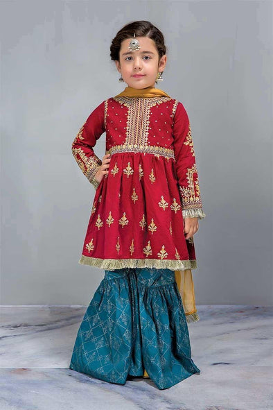 Maria. B Kids Dress in Reddish Maroon  Peti Frock Gharara