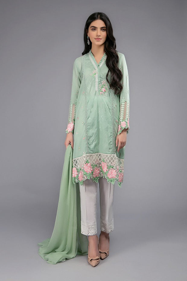 Maria B Eid Dress in Light Green Color #M9038