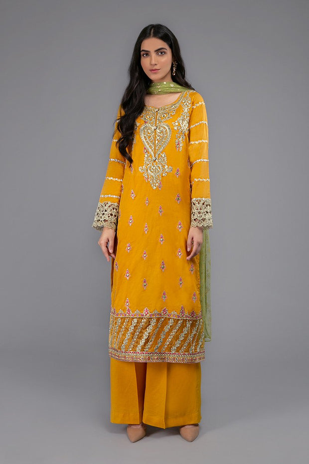 Maria B Eid Outfit in Mustard Color