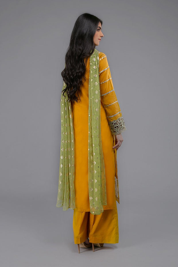 Maria B Eid Outfit in Mustard Color Backside