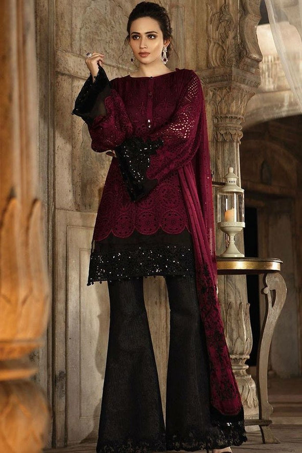 Maria B Designer Chiffon Dress in dark maroon and black color  Model# C 1631