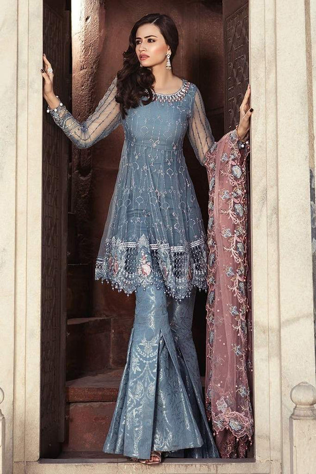 Fancy Paplam Frock And Gharara Pants Dress by Maria B In Bluish Gray & Pink color Model# C 1621