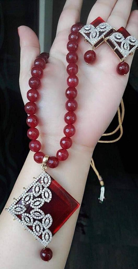 Maroon Mala Necklace Jewellery Set