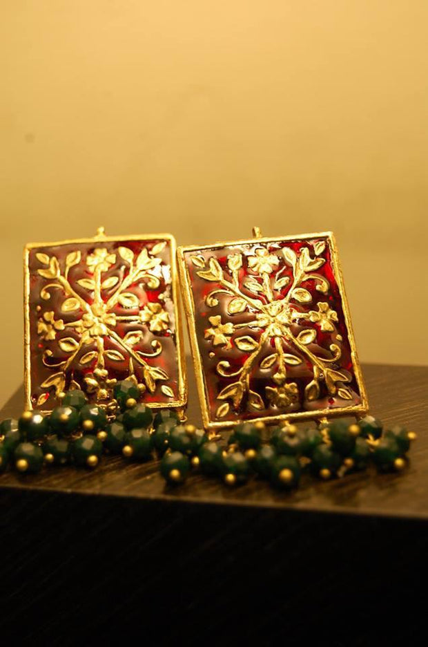 Maroon Meenakari Kundan Earrings