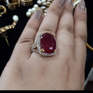 Maroon Stone Ring for Women
