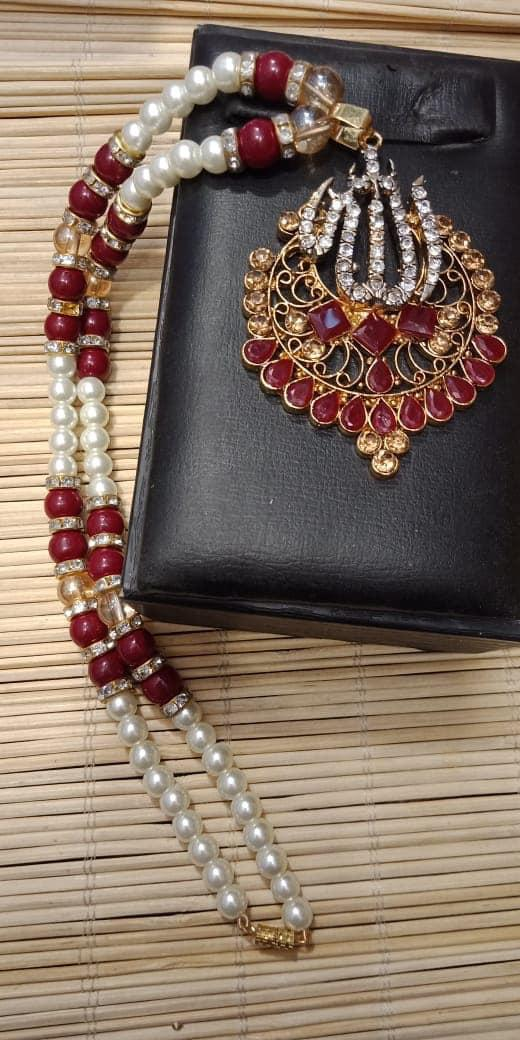 Maroon Stones Mala Necklace