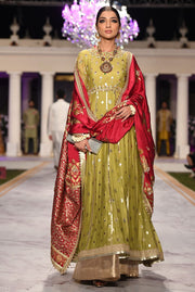 Beautiful designer bridal mehendi dress embroidered in green color