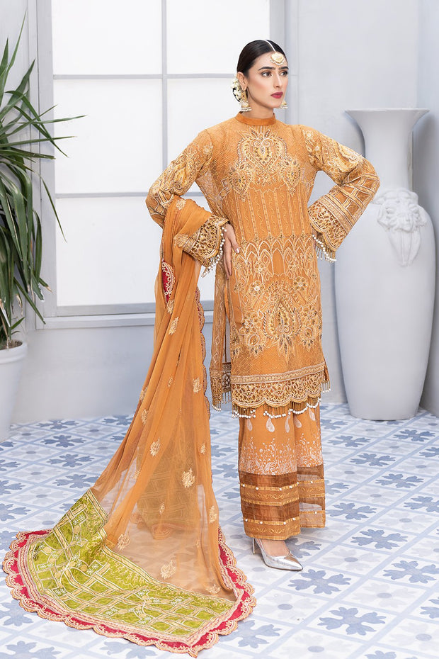Mehndi Festive Chiffon Suit in Mustard Color
